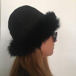 "$180 NWOT Natural Spanish Merino &I Italian Toscana Shearling Fur Hat Size 24"""