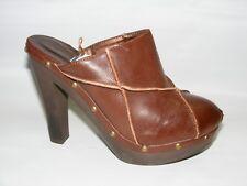 "F24 Women's Dark Brown Platform 4.5"" Heels Studded Mules Closed Toe Slides Shoes"