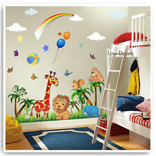 Animal Wall Stickers Decals Jungle Zoo Lion Owl Nursery Baby Kids Bedroom Art