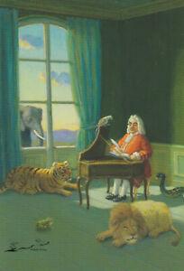 Postkarte: Michael Sowa - Tiere u. Töne / Löwe, Elefant
