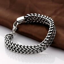 Biker Silver Stainless Steel Link Chain Men's Bracelet Cuff Bangle Wristband New