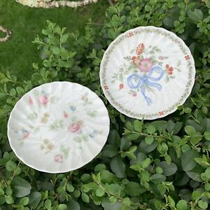 2 Vintage Pin Dishes Butter Plates Wedgwood Rosehip & Ribbon Cascade Patterns