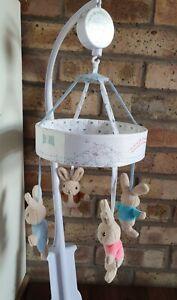 Peter Rabbit Musical Cot Mobile Beatrix Potter Baby Nursery Excellent condition