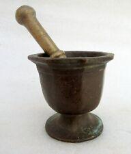 1850's Antique Old Hand Carved Bronze Brass Spice Grinding Mortar Pestle Pot