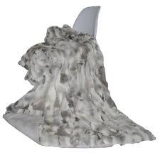 Real Rabbit Fur Blanket Bed Patchwork Rug Skin Carpet Throw Bedroom Bedspread