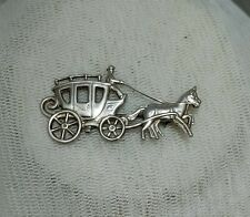 VINTAGE STERLING SILVER HORSE & VICTORIAN STYLE CARRIAGE BROOCH PIN JEWELLERY