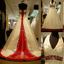 Luxury Embroidery Halter White and Red A Line Wedding Dresses Beaded Bridal Gown