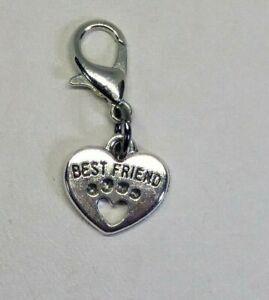 "Paw Print ""Best Friends"" Heart Zipper Pull/ Charm/ Keychain/Pendant; 5pc or 20pc"