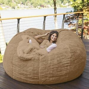 7-Foot Bean Bag Chair Fur Cover Machine Washable Big Size Sofa Giant Lounger