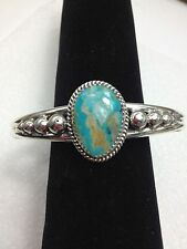 Royston Turquoise Sterling 2 wire cuff bracelet design TByrd made Navajo GBoyd