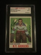 HOF ED GIACOMIN 1970-71 TOPPS SIGNED AUTOGRAPHED CARD #68 RANGERS SGC AUTHENTIC