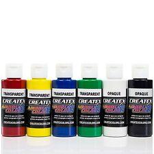 Createx Airbrush Farben Set 6x 60ml Basis Transparent Airbrushfarben Acrylfarben