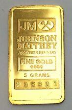 Rare Johnson Matthey (JM) 5 grams .9999 Gold Bar Serial 035821 A244