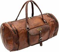 Large Genuine Vintage Leather Brown Weekend Luggage Duffel Travel Bag For Unisex