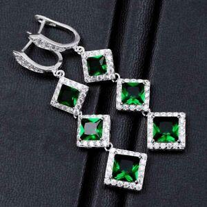 Luxury 925 Silver Emerald Ear Hook Dangle Hoop Earrings Women Wedding Jewelry