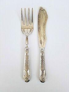 Antique 800 Silver Fish Serving Set Fork & Knife