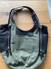 Celine Khaki Canvas/Leather Bucket Bag