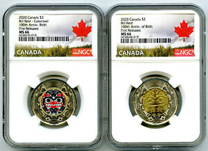 2020 $2 CANADA NGC MS66 TOONIE BILL REID TWO DOLLAR MATCHED 2-COIN SET - FR !