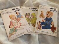 Kwik Sew Vintage Sewing Patterns, Infant & Toddler Apparel, Lot Of 3 Packages