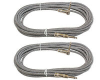 2 Silver woven tweed cloth right angle to straight 1/4 guitar patch cables 12 ft