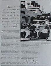 PUBLICITE AUTOMOBILE BUICK DEBARQUEMENT DU PAQUEBOT BATEAU DE 1929 FRENCH AD PUB