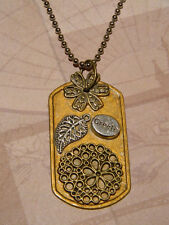 Steampunk Necklace Flowers, Create, Leaf Collage Dog Tag Pendant Ball Chain D106