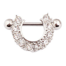 Pair of Nipple Shield Gem Set Bar Rings