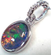 Australian Opal Natural Black Triplet Opal Pendant Solid 925 Silver Set 6.97cts