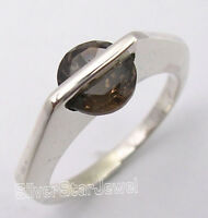 925 SOLID Silver CUT BROWN SMOKY QUARTZ URBAN STYLE Ring Any Size ONE OF A KIND