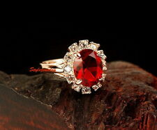 Rose Gold Plated Oval Birthstone Red Ruby Women Lady Fashion Ring Size 9 R160