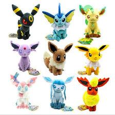 Set of 9 Pokemon Evolution of Eevee Sit Plush Doll Eeveelution Soft Stuffed Toy