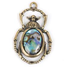 METAL EMBELLISHMENT / CHARM Beetle w/Paua Shell - STEAMPUNK - Jewelry Cards