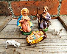 Vintage Decoración de Navidad de Escena Natividad María José Niño Jesús En Caja