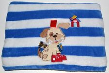 """Taggies Puppy Dog Blue White Striped Baby Blanket Red Shoes Bone House 30 x 37"""""""