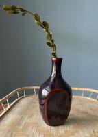 Brown Glaze Studio Art Pottery Vase Unsigned Weed-bud Vase MCM Boho Vibes