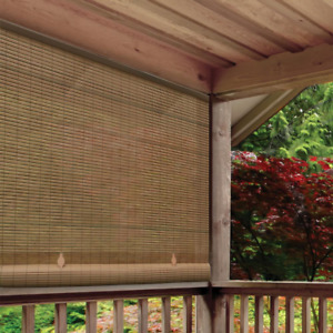 Outdoor 36 in x 72 in. Cordless Roll Up Blind Sun Shade Patio Deck UV Protection