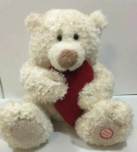 "Valentine Hallmark Teddy Bear Animated Hug Me Sound White Red Heart Plush 15"""