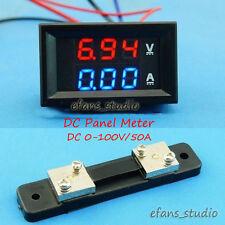 DC 0-100V 50A Digital LED Voltmeter Ammeter Amp Volt tester Meter shunt 12v 24v