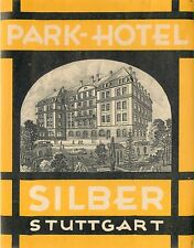 STUTTGART GERMANY PARK HOTEL SILBER VERY OLD BAGGAGE LUGGAGE LABEL YELLOW