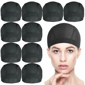 Dome Caps for Wigs, 10 Pcs Black Mesh Dome Caps for Wigs, Stretchy Wig Cap
