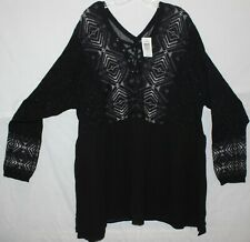 Torrid - Black - Long Sleeve Fair Isle Trim 2Fer Lace up Sweater - Sz 5 - NWT