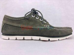 Timberland Men's 4 eye Tidelands Moccasins Casual Green Suede Boat Shoes A1TGU