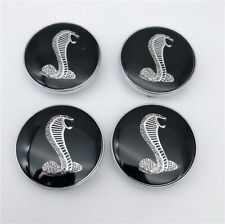 4PC FOR COBRA RIM CENTER HUB CAP 60MM SNAKE BLACK SHELBY WHEEL