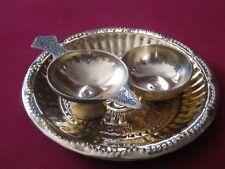 Diwali Brass Plate +Diya / Oil Lamp + Bowl Hindu Puja Aarti Tika Havan Temple