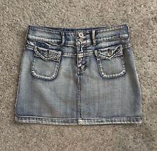 ARMOR JEANS Womens Size 3/4 Denim Blue Jean Mini Straight Skirt Embellished