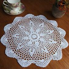 """14"""" Vintage Floral Hand Crochet Cotton White Doily Round Flower Table Placemat"""