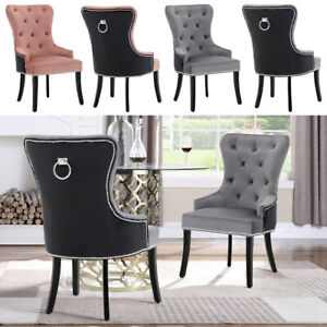 1/2/4X Velvet Dining Chair High Back Cocktail with Knocker And Studs Chairs Seat