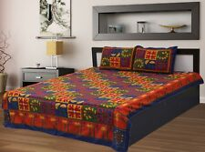 Traditional Rajasthani Embroidered Kantha Bed Sheet With Two Pillow Covers Set