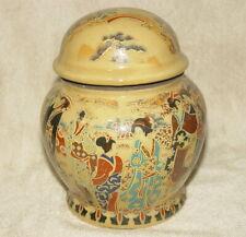 Alte Keramik Töpfe Dosen mit Tang-Dynastie Geisha Szenen Relief & Siegelmarke #8