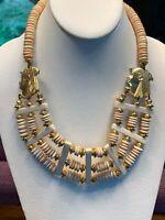 Vintage Necklace Gold  beaded bovine Bone carved Egyptian pharaoh Bib statement